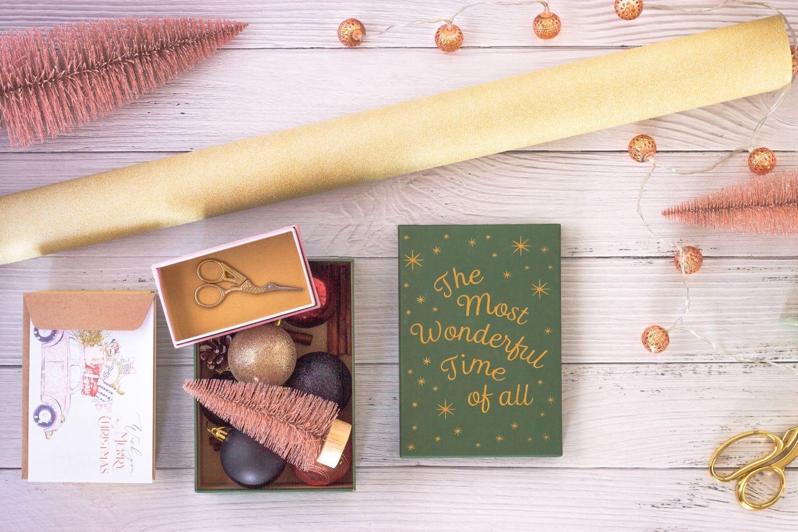 christmas gifting supplies and decor