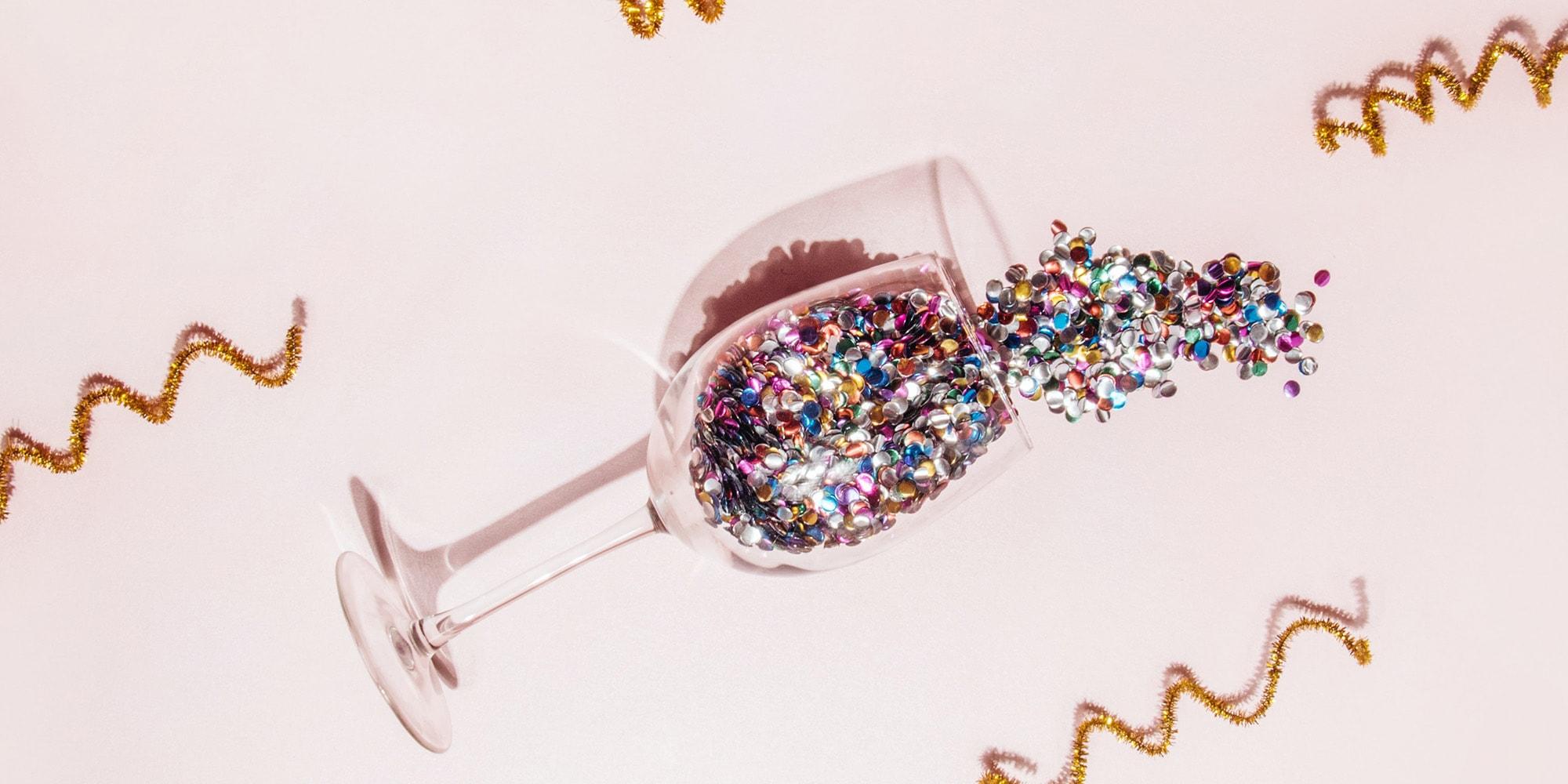 confetti in a wine glass