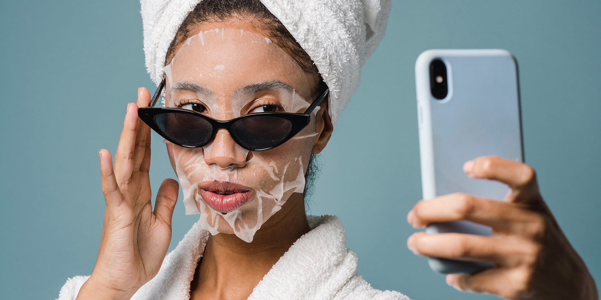influencer wearing a face mask